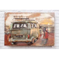 Plaque Métal Combi VW Bleu