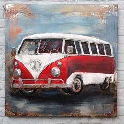 Plaque Métal Combi VW Rouge